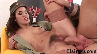 Army girl gets fucked by big dick in her hairy pussy