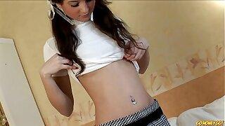 Skinny schoolgirl masturbating with a toy