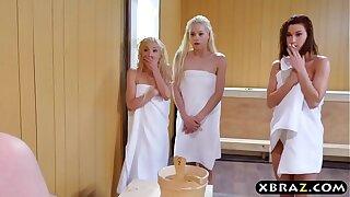 Three teen hotties share a hard monstercock in a sauna