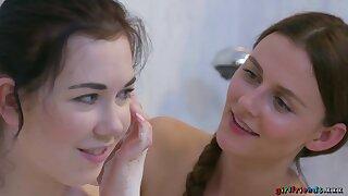 Daphne Angel takes soapy bath with Kira Zen