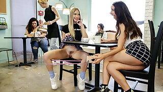 Bubble butt girls gone wild in a cafe
