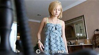 FantasyHD - Petite blonde Dakota Skye shaves her pussy before fuck