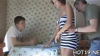 Boy stares at his legal age teenager girlfriend getting nailed by stranger
